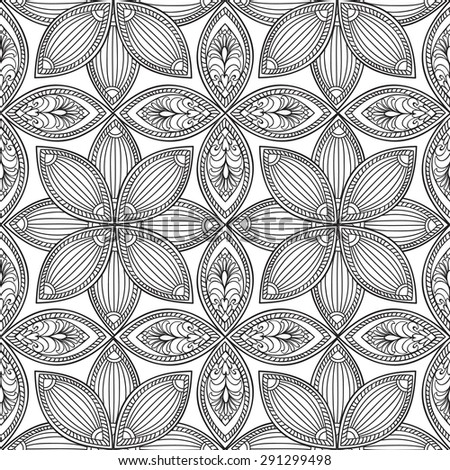 Abstract floral retro seamless pattern. Endless texture for wallpaper, pattern fills, web page background,surface textures. Monochrome geometric tiling ornament. - stock vector