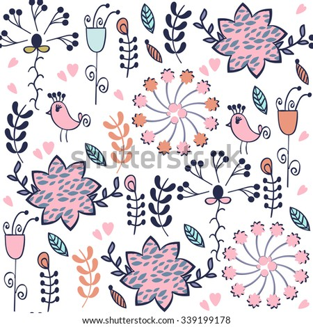 Abstract floral seamless adorable gentle elegance  pattern with birds and seamless patterns in swatch menu, vector illustration