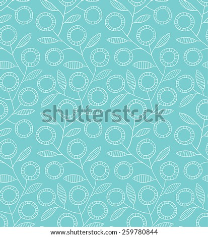 Abstract floral seamless background blue and white color - stock vector