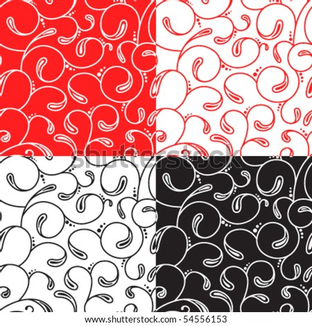 Abstract floral seamless pattern set - stock vector