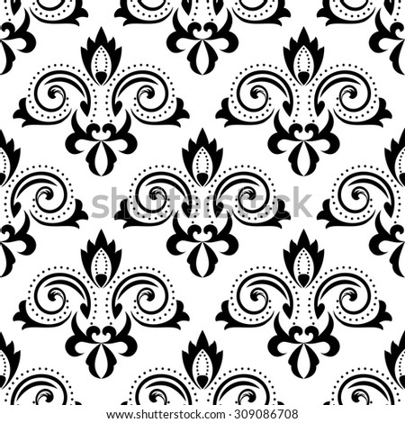 Abstract floral seamless pattern with black flourish curlicues and leaves scrolls on white background, for wallpaper or textile design - stock vector