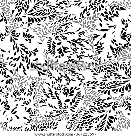 Abstract floral seamless pattern with leaves  Swirl floral doodle texture. Ornamental wave  plant background.