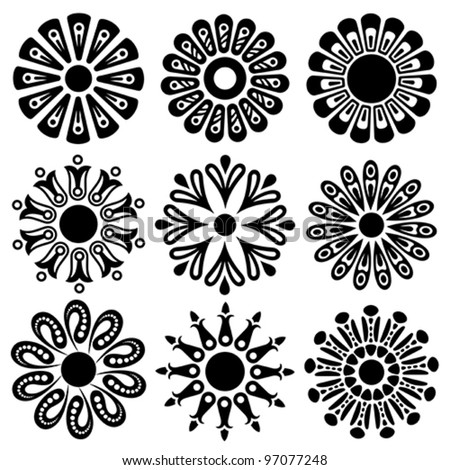 abstract floral shapes - stock vector