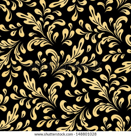 Abstract floral swirls, vector seamless pattern, vintage gold background - stock vector