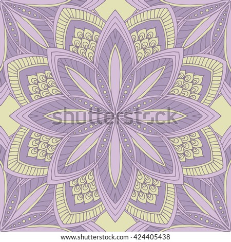 Abstract floral  symmetric ornament, decorative seamless pattern. - stock vector