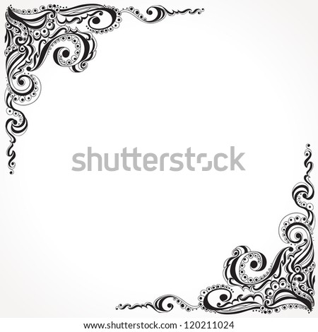 Abstract floral tattoo pattern. Template frame design for card, - stock vector