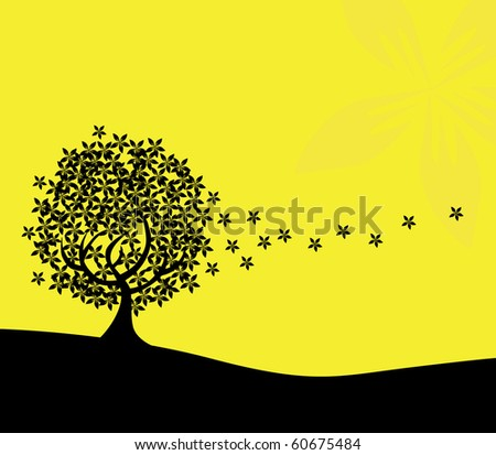 abstract floral tree silhouette, symbol of nature - stock vector