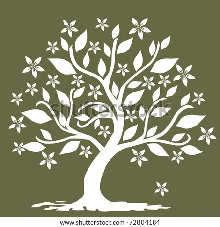 abstract floral tree, symbol of nature - stock vector