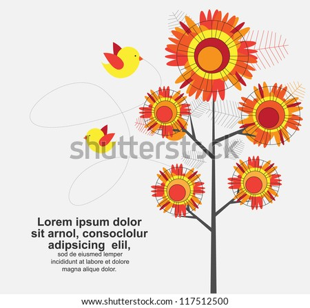 abstract floral tree with cute birds