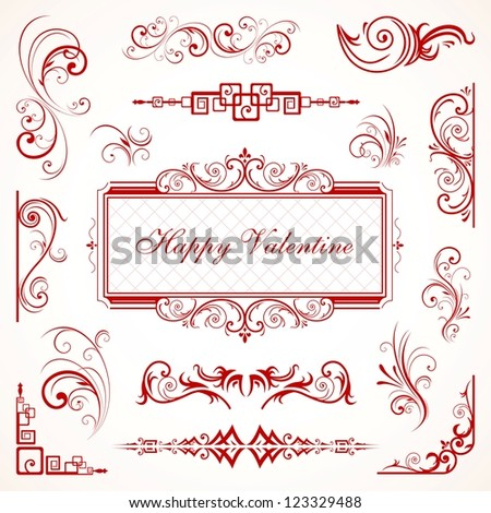 Abstract floral Valentine floral decorative ornaments eps 10 - stock vector