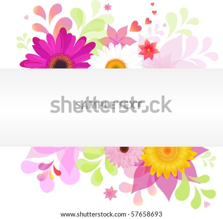 Abstract Floral Vector Background With Colorful Daisies - stock vector