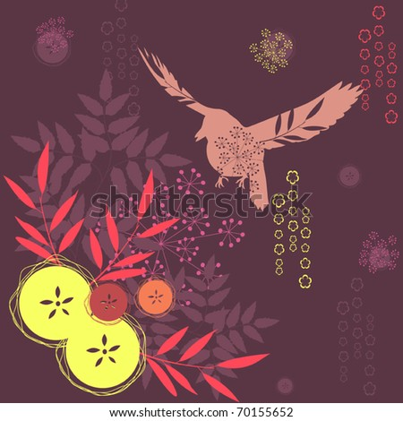 Abstract floral vector background with flying bird - stock vector