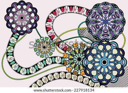 Abstract Floral Vector Illustration Design Element. Colored Version. - stock vector