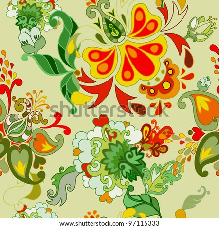 Abstract floral vector seamless pattern. - stock vector