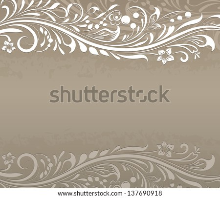 Abstract floral vintage beige background with copy space. - stock vector