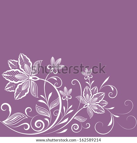 Abstract floral vintage purple background with copy space. - stock vector