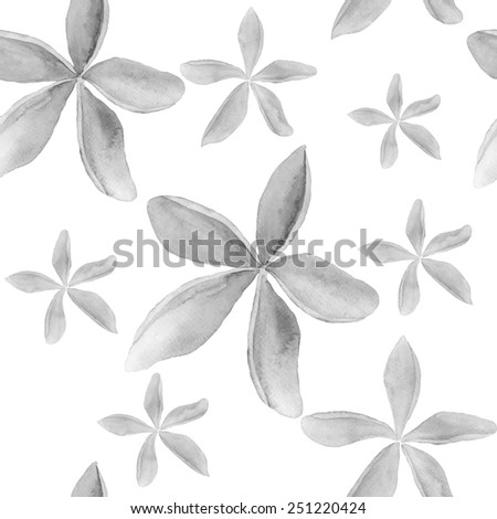 Abstract floral watercolor seamless background. Frangipani background. Can be used for swimwear, web pages, identity style, printing, textile, cards, wrapping, invitations, etc.  - stock vector