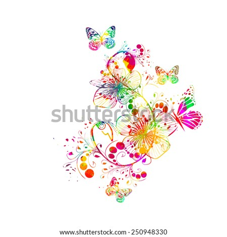 Abstract floral watercolor. Vector  - stock vector