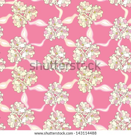 Abstract floral wedding impressionistic texture. Festive flowers and ribbons repeating pattern.