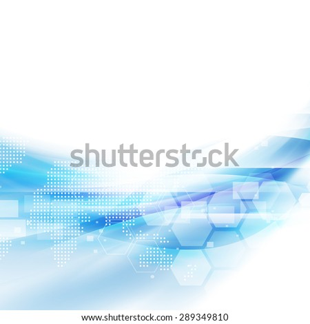 Abstract flow blue background for technology or science concept presentation, Vector illustration