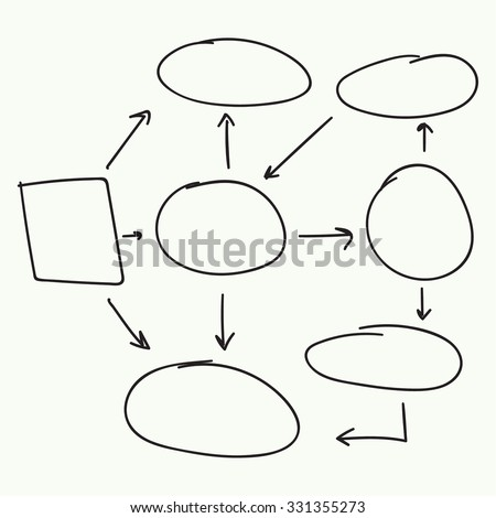 Abstract flowchart vector design elements. Hand-drawn frame, border, rectangle marker. Vector
