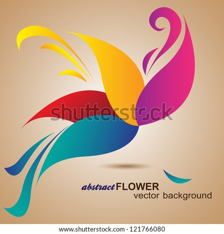 Abstract Flower Background. Element for design. Vector illustration on beige background. Logo design - stock vector