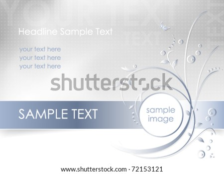 Abstract flower background - floral greeting card - white, blue and light gray color - vector, eps10 - stock vector