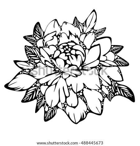 Abstract flower black and white bud and leaves monochrome sketch of tattoo
