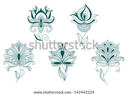 Abstract flower blossoms set isolated on white for design and decorate. Jpeg version also available in gallery  - stock vector