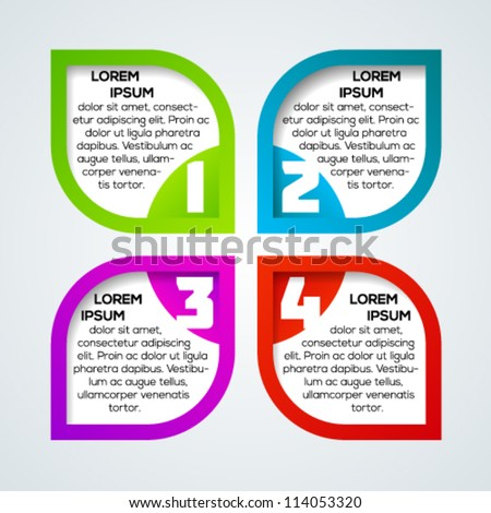 Abstract flower business presentation template with numbers. Vector illustration. - stock vector