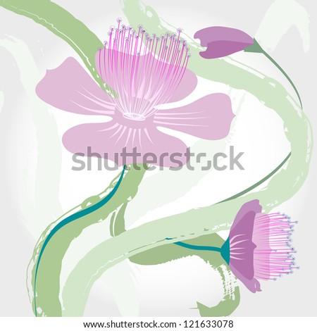 abstract flower design, with strokes, grungy - stock vector