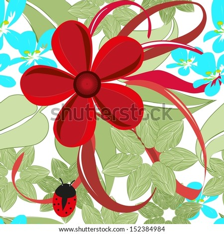 Abstract flower end ladybird seamless pattern background - stock vector
