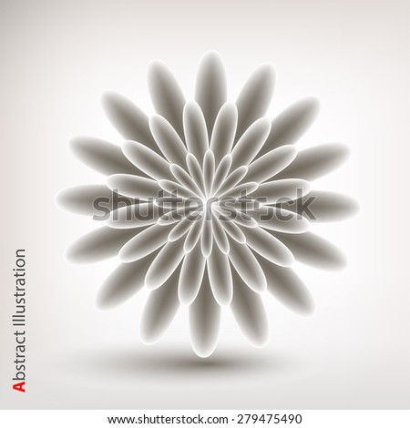 Abstract flower in grey color. Vector illustration. - stock vector