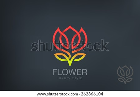 Abstract Flower Logo design vector template line art style. Luxury Cosmetics Trendy Concept logotype icon. - stock vector