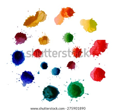 Abstract flower made of watercolor blobs. Colorful abstract vector ink paint splats. Color wheel - stock vector