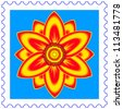 Abstract flower on a postage stamp - stock vector