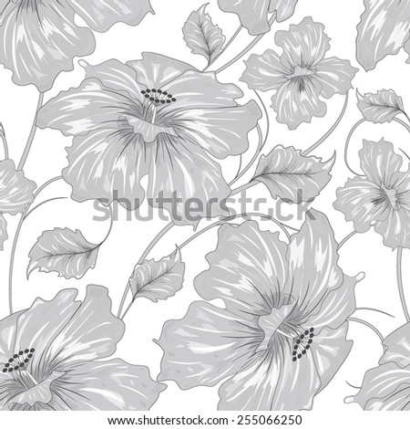 abstract flower pattern on white background, black and white vector illustration - stock vector