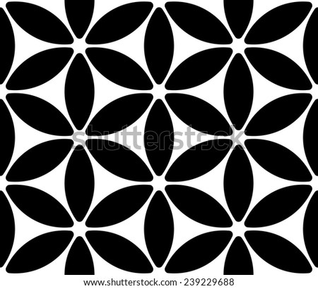 Abstract Flower Pattern. Seamless Black and White Background - stock vector