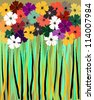 abstract flower power background, illustration - stock vector