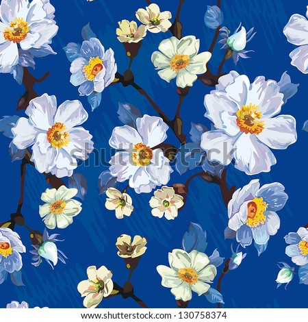 Abstract flower seamless pattern background. Elegance illustration. - stock vector