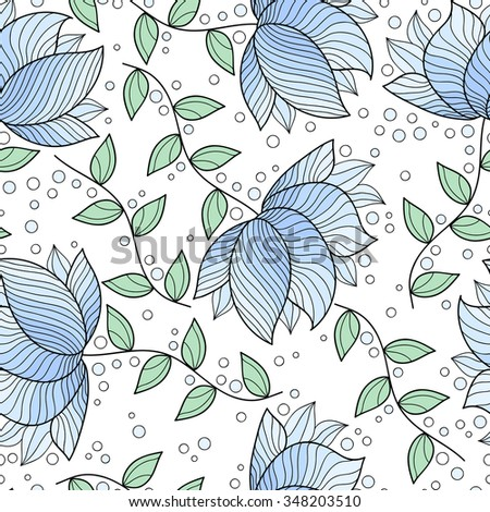 Abstract flower seamless pattern. Cute floral background.