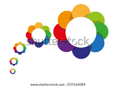 Abstract Flowers from small to big size. Springtime bloom concept. Scalable Vector. - stock vector