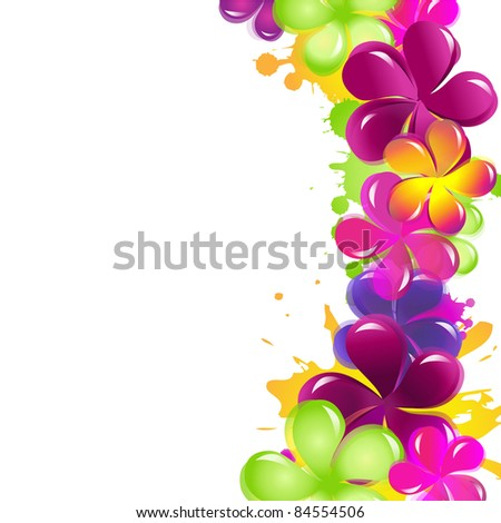 Abstract Flowers, Isolated On White Background, Vector Illustration - stock vector