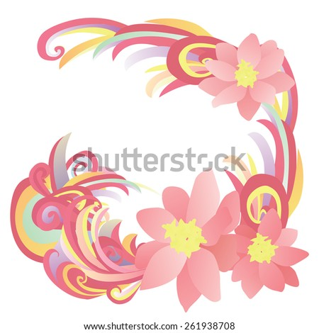 abstract flowers pink, red and yellow illustration - stock vector