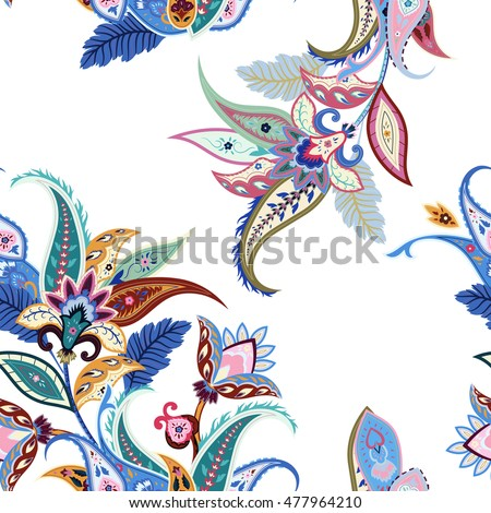 Abstract flowers seamless paisley pattern. Wrapping print. Floral ornament, for fabric, textile, cards, batik, wallpaper template, packaging.Ornamental India background