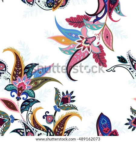 Abstract Flowers Seamless Paisley Pattern Wrapping Print Floral Ornament For Fabric Textile