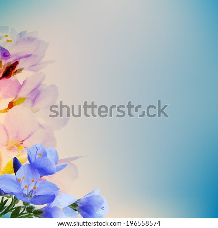 Abstract Flowers, With Gradient Mesh, Vector Illustration