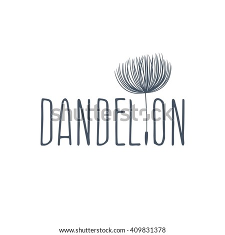 Abstract fluffy dandelion flower logo. Vector illustration  - stock vector
