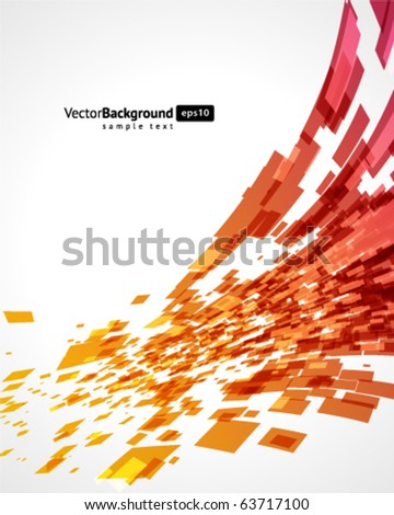 Abstract fly squares shapes vector background - stock vector