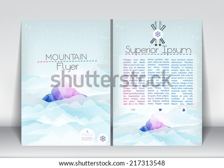 Abstract Flyer Brochure Design Template with Mountain in Clouds - Vector Illustration - stock vector